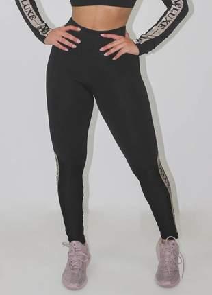Calça legging feminina fitness deluxe preta luxo
