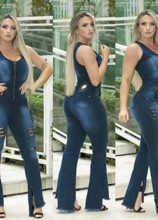 Macacão jeans flare inspiração pitbull