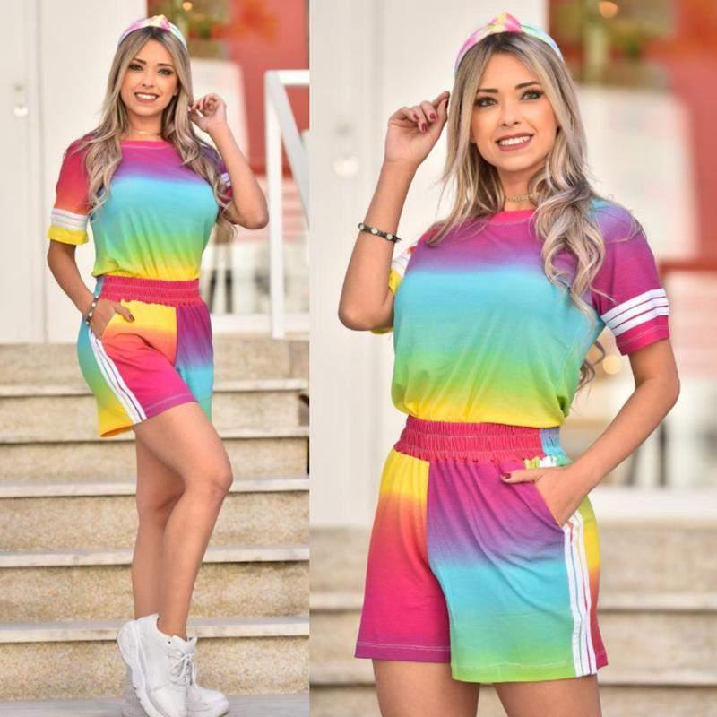 C&W Modas / Conjunto tie dye arco íris  exclusivo