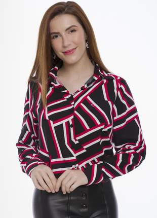 Camisa blusa social feminina viscose estampada geométrico