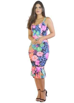 Vestido barato blogueira floral moda primavera verao 2020 impressão 3d midi