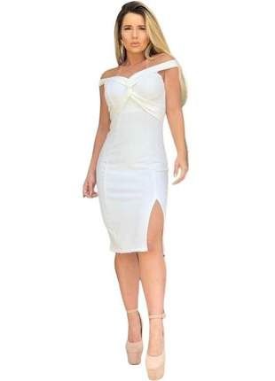 Vestido de noiva midi casamento civil cartório offwhite justo fenda bojo 2020 blogueira