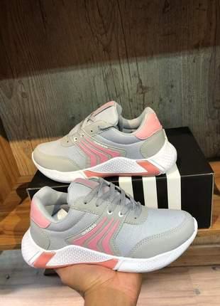 Tênis feminino cinza pink