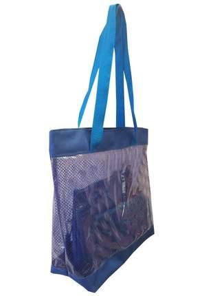 Bolsa de praia sacola grande ombro transparente com redinhas azul
