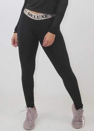 Calça legging feminina fitness preto deluxe luxo