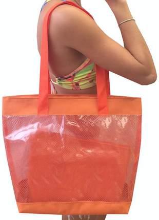 Bolsa de praia sacola grande ombro transparente com redinhas laranja