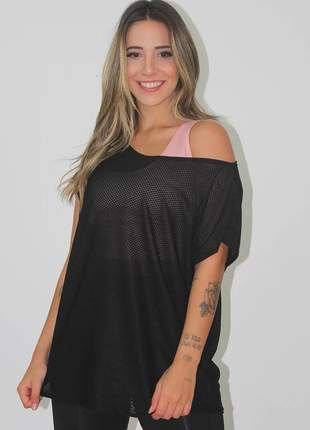 Blusa feminina fitness transparente dry preto luxo