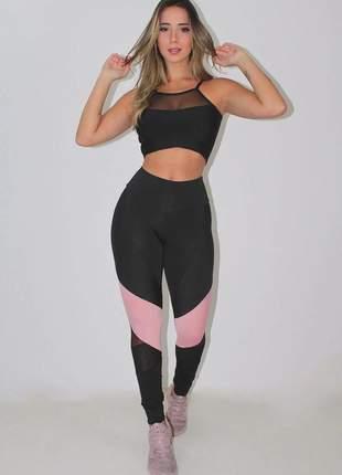 Conjunto feminino fitness calça legging detalhe rosê cropped detalhe busto luxo