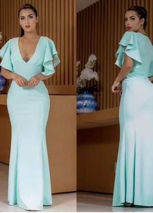 Vestido azul serenity de mangas longo decote madrinha de casamento noivas formandas
