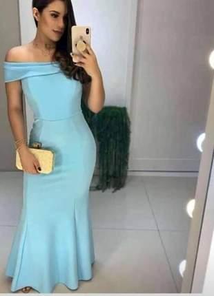 Vestido azul serenity moda casamento noivas madrinhas formandas barato ombro