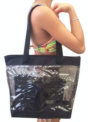 Bolsa de praia sacola grande ombro transparente com redinhas preta