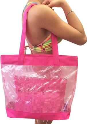 Bolsa de praia sacola grande ombro transparente com redinhas rosa