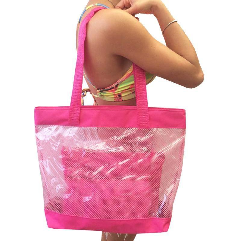 b2c26ef15 Bolsa de praia sacola grande ombro transparente com redinhas rosa1 ...