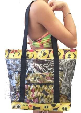 Bolsa de praia sacola grande ombro transparente com redinhas emoticons