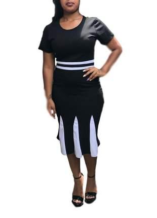Vestido moda evangélico preto mídi ref 603