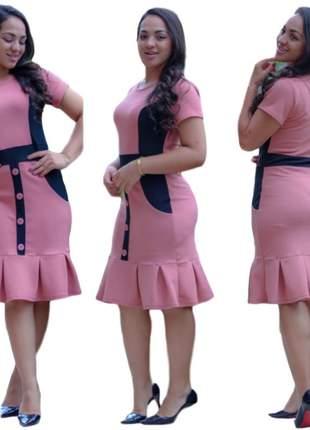 Vestido social moda evangélica de babado ref 635