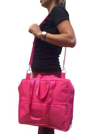 Bolsa pasta porta esmaltes para manicure até 120 frascos rosa