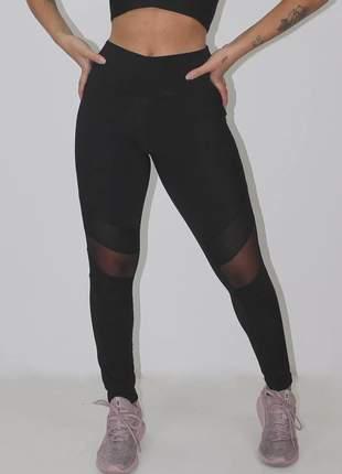 Calça legging feminina fitness preta transparencia tela luxo