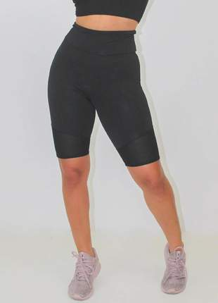 Bermuda fitness feminina preta lisa luxo