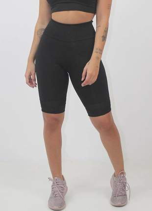 Bermuda fitness feminina lisa preto luxo