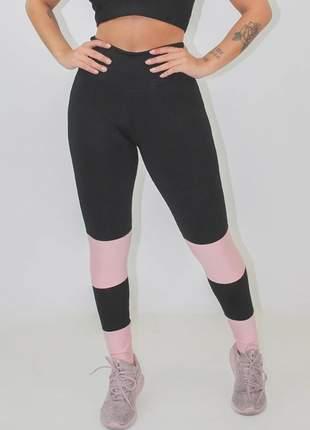 Calça legging fintess feminina preta detalhe rosê luxo