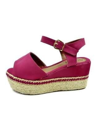 Sandália feminina rosa anabela salto corda plataforma