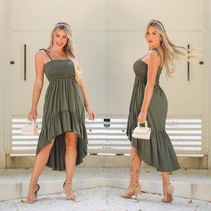 Vestido sereia alça cintura marcada várias cores