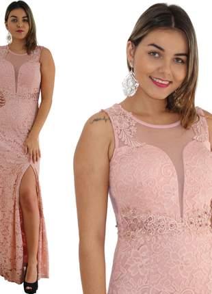 Vestido longo rosê renda nude festa casamento civil madrinhas cartório formatura aniver