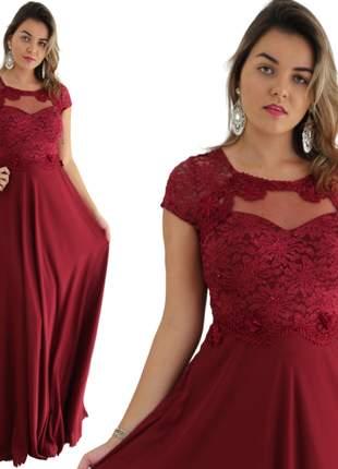 Vestido longo vermelho marsala manguinha moda festa madrinhas senhoras moda evangélica