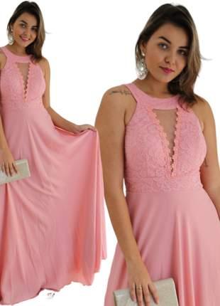 Vestido longo moda festa casamento civil madrinha noiva cartório rosa princesa