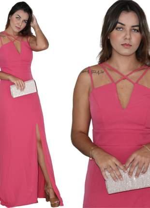 Vestido pink festa social rosa festa casamento aniversário noivas madrinhas convidadas