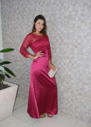 Vestido longo barato senhoras bordô cetim moda evangélica festa bojo casamento manguinha