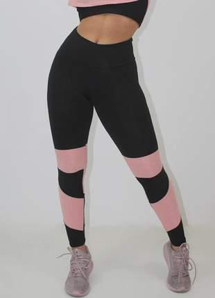 Calça legging fitness feminina preto com detalhe rosê luxo