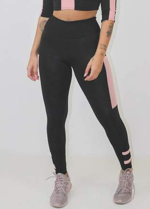 Calça legging fitness feminina preto rosê luxo