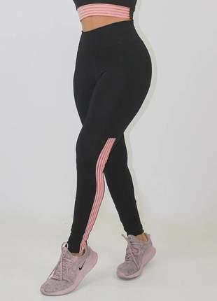 Calça legging fitness feminina preto detalhe rosê luxo