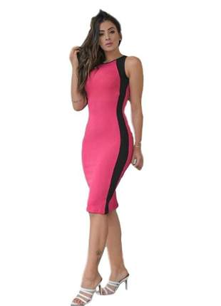 Vestido midi canelado rosa ref 629