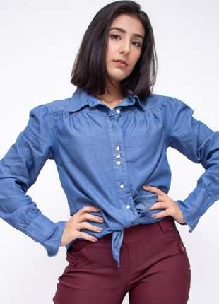 Camisa jeans feminina manga longa modelo princesa