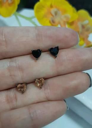 Brinco de coração semi joia ródio negro