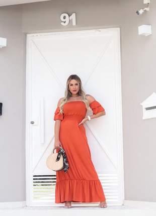 Vestido longo de festa ombro a ombro laranja