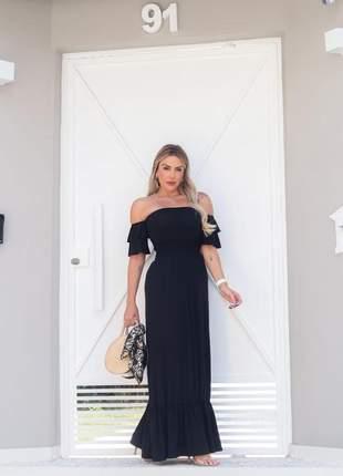 Vestido longo de festa ombro a ombro preto