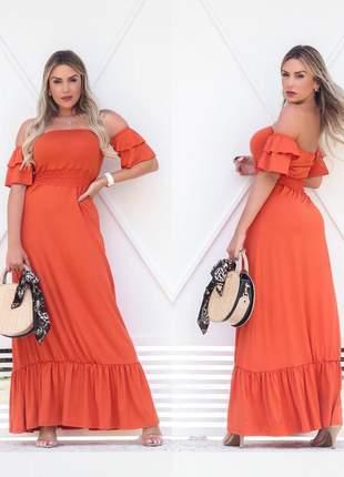 Vestido longo ciganinha - orange