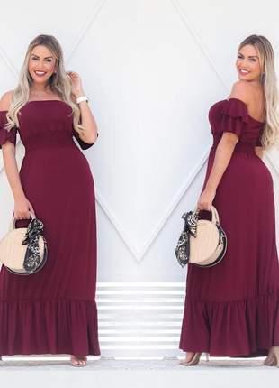 Vestido longo ciganinha - wine