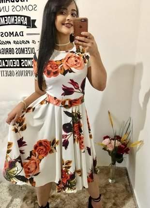 Vestido evangelico midi gode rodado rodadinho com cinto estampado florido
