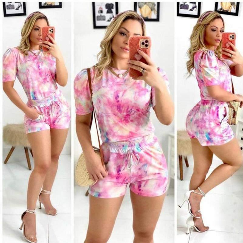Amora Modas / Conjunto conjunto princesa tie dye rosa.