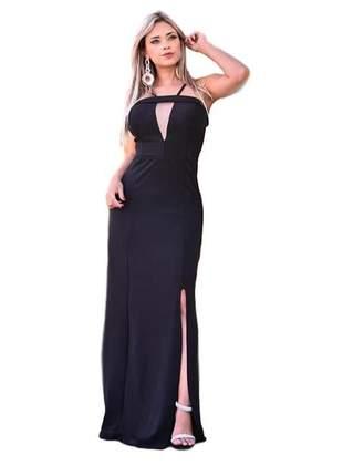Vestido longo socia preto liso ref 705