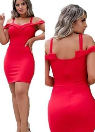 Vestido social vermelho liso ideal casamento ref 692