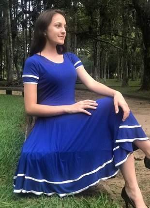 Vestido evangelico midi gode duplo rodado moda feminina