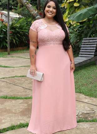 Vestido plus size longo rose manguinha madrinhas senhoras casamento mãe noivos gestante