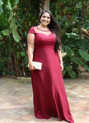 Vestido de festa plus size longo marsala rosê madrinha luxo casamento senhora manguinha