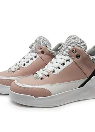 Tênis casual couro mah bulmaw napa rosa/branco